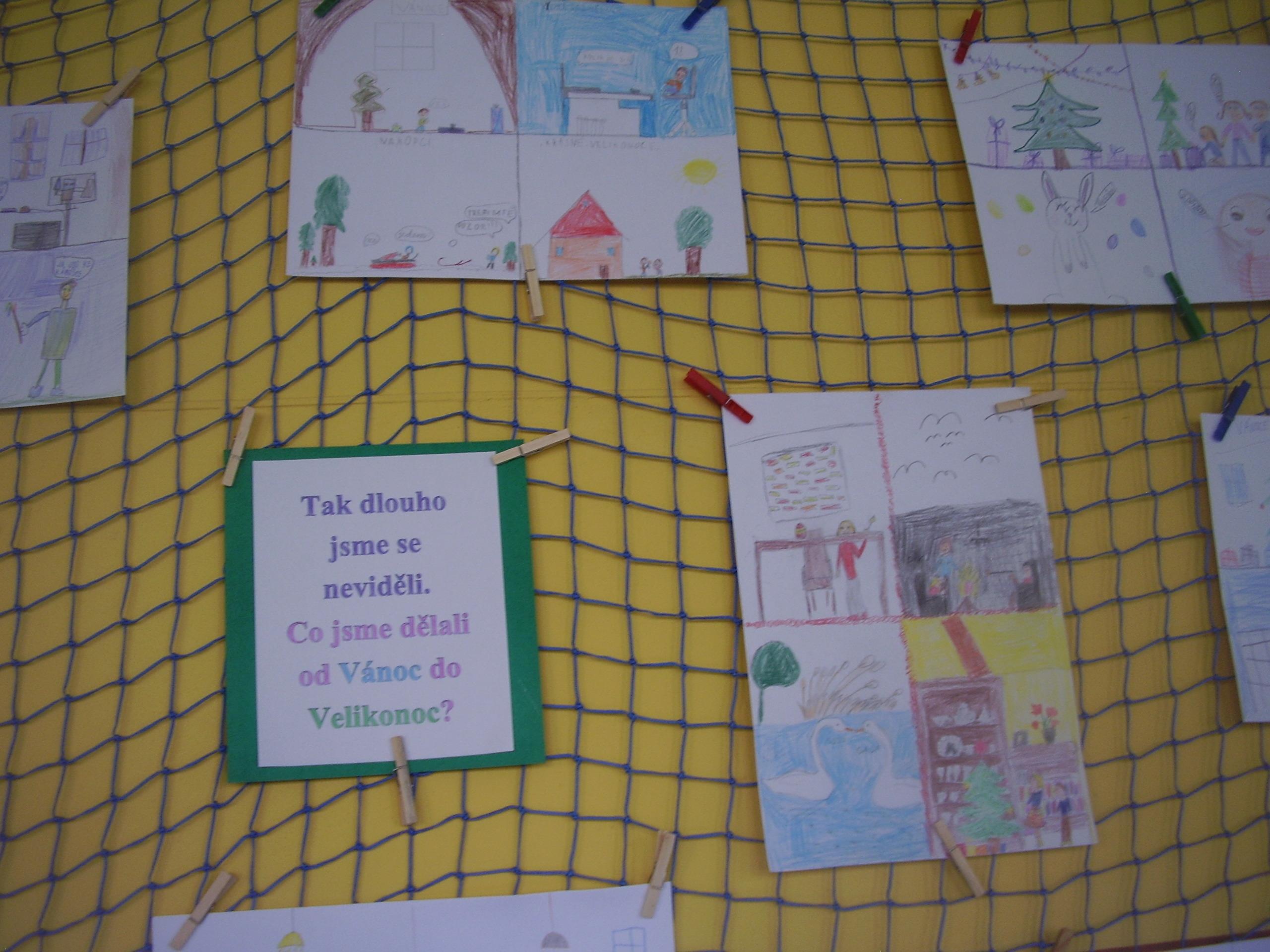 Nástěnka s obrázky k projektu školní družiny